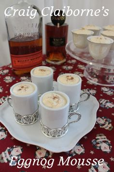 Eggnog is a simple drink, made with fresh eggs, cream or milk and sugar. Craig Claiborne's Eggnog Mousse takes those key ingredients and puts them together to create a creamy, fluffy dessert. #SundaySupper