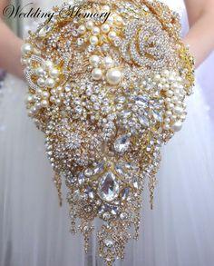 Gold cascading brooch bouquet. Jeweled teardrop waterfall