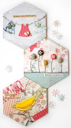 Shabby Chic Altered Hexagons | Cosmo Cricket copy Cards? use on a layout, can use large hexagon quilt template