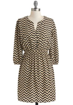 Brand New Zag Dress - Tan / Cream, Casual, A-line, 3/4 Sleeve, Fall, Mid-length, Black, Stripes