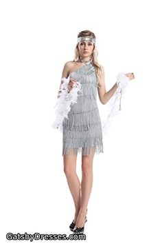 0205b138ee88 [GRACES]Womens 20s Gatsby Silver Dresses Vintage Inpired Flapper Dresses