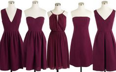 Cranberry-Burgundy in a wedding is a beautiful color choice for any season~it isn't just for fall & winter weddings.Bridesmaid dress ideas with Bouquets & Shoes