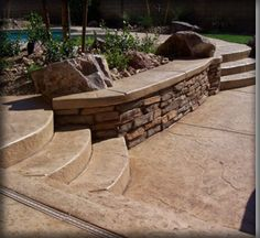Stamped concrete with steps -- Chuck loves this