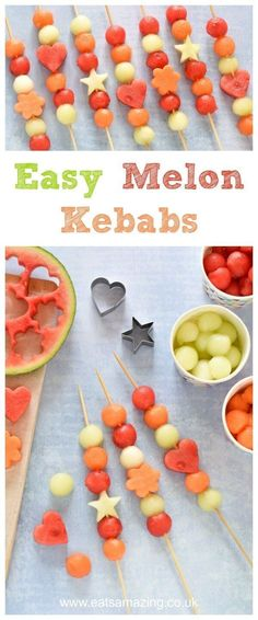 Cute and easy Melon Fruit Kebabs for kids - gorgeous starter or party food idea for summer - kids will love this healthy treat - Eats Amazing UK
