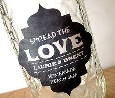 Wedding Favor Sticker - Chalkboard Style - Jam Labels - Spread the Love - set of 50