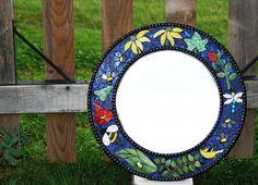 Mosaic Stained Glass Mirror 18 Round Garden by NatureUnderGlass
