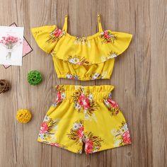 8c5453989 $5.99 - Toddler Kids Baby Girl Floral Outfits Shoulder Vest Tank Tops+Short  Pants 2Pcs #ebay #Fashion