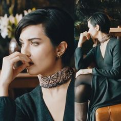 V-neck dress or top, with black tights, scarf choker & blue boots. (Çesur ve Güzël, Sühan - Tuba Büyüküstün)