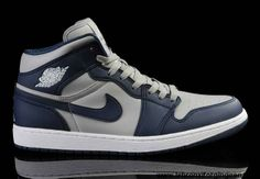 Discount Air Jordan 1 Navy Blue/Cool Grey Shoes Basketball Shoes Store