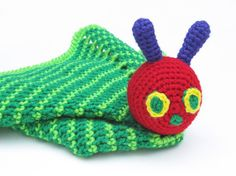 Caterpillar Lovey  CROCHET PATTERN  security blanket by Bowtykes