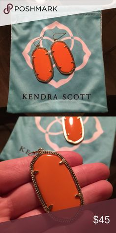 Kendra Scott orange Danielle earrings Perfect for gamedays and anything in between! No damage or wear in the metal. Kendra Scott Jewelry Earrings