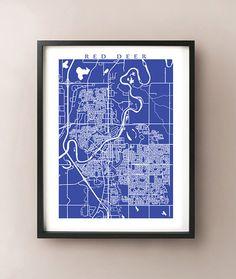 Red Deer Map Print by CartoCreative on Etsy #reddeer #alberta