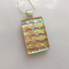 Dichroic Glass Prism Pendant Fused Glass by AngelasArtGlass