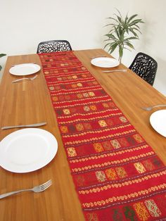 Handwoven Mexican Style Table Runner Red