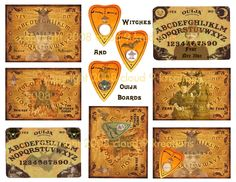 WITCHES AND OUIJA BOARDS...HALLOWEEN ALTERED ART...DIGITAL COLLAGE SHEET. $2.99, via Etsy.