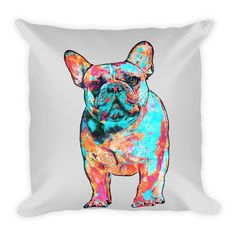 French Bulldog Colorful Painting Decorative Pillow