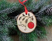 Items similar to Wood Burned Birch Slice Ornament Hand Burned Painted - Joy / Red Christmas Tree Ball on Etsy
