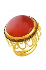 Tribebyamrapali-Silver Two Tone Jaali Rawa Red Onyx Adjustable Ring