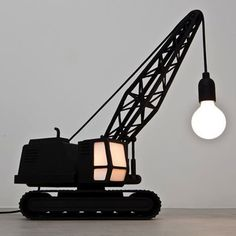 Although designers have made huge strides, as a parent of boys I find that choices in clothing and furnishings are still lacking.  Looking for a lamp with a truck theme?  How about a plain old lamp with a truck stuck on the base?  I see that all too often.  But Studio Job of the Netherlands has envisioned something a bit cooler.