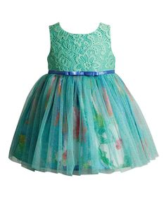 Turquoise Floral Lace A-Line Dress - Infant Toddler & Girls