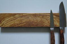 12 Mediterranean olive wood burl magnetic knife holder by EEKnives