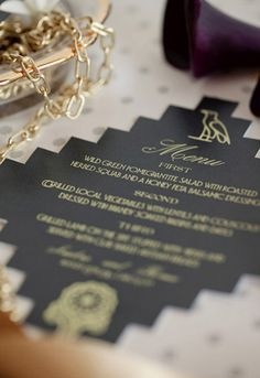 Egyptian themed menu in black and gold Dinner Themes, Event Themes, Party Themes, Themed Parties, Party Ideas, My Greek Wedding, Egyptian Wedding, Chic Wedding, Dream Wedding