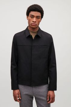 COS image 2 of Cotton-wool blend jacket  in Black