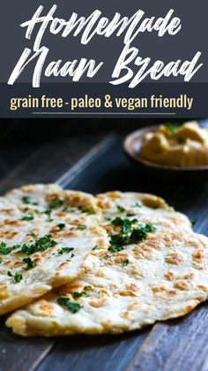 Grain Free Naan Bread with Cassava Flour! A simple and flavorful Middle Eastern bread recipe, made grain free and in 20 minutes or less! No oven required, just a skillet and few simple ingredients. Great with hummus, yogurt sauce, or by itself. Paleo and Naan Sans Gluten, Gluten Free Naan, Gluten Free Recipes, Healthy Recipes, Keto Recipes, Ketogenic Recipes, Appetizer Recipes, 90 Second Keto Bread, Best Keto Bread