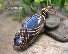 Criss-Cross Variation Bright Blue Labradorite with copper wire