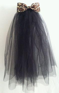 Bachelorette Veil Black w/ Leopard Bow by SassyClassyandFun, $14.50