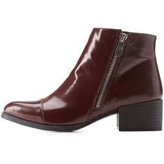 Charlotte Russe Burgundy Qupid Pointed Cap-Toe Booties by Qupid at... ($43) ❤ liked on Polyvore featuring shoes, boots, ankle booties, burgundy, chunky booties, stacked heel ankle boots, ankle boots, pointed toe ankle boots and stacked heel bootie