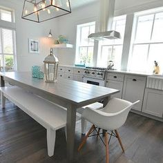 Décoration Maison En Photos 2018 – House of Turquoise: Lollygag Beach House Kitchen Cabinets Grey And White, Backsplash For White Cabinets, Grey Kitchens, Shaker Cabinets, Kitchen White, Upper Cabinets, Backsplash Tile, Grey Cabinets, One Wall Kitchen