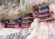 Hanging Monastery, built in 491.  This monastery hangs on the west cliff of Jinxia Gorge, more than 50 meters above the ground.