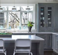 Studio Dearborn is a boutique kitchen design and custom cabinetry firm. Kitchen Countertop Materials, Granite Kitchen, Kitchen Tiles, Kitchen Countertops, Kitchen Cabinets, Chef Kitchen Decor, New Kitchen, Kitchen Design, Colonial Kitchen