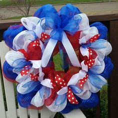 Red white blue 4th of July ☆ mesh wreath