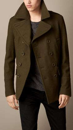 Olive Pea Coat by Burberry. Buy for $1,395 from Burberry