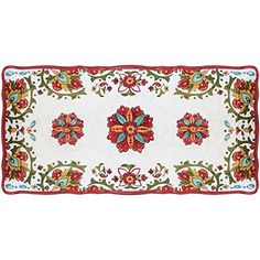 Traditional Le Cadeaux Allegra Red - Rectangular Biscuit Tray, ,