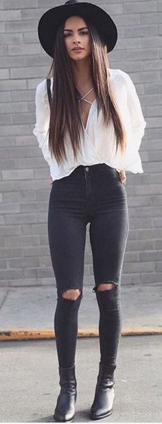 #summer #outfits Black Hat + White Blouse + Black Destroyed Skinny Jeans + Black Leather Booties // Shop this exact outfit in the link