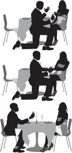 Vectores libres de derechos: Silhouette of a man proposing to…