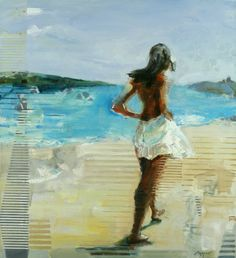 """Saatchi Online Artist Michael Azgour; Painting, """"Gosia at the Sea (Sold)"""" #art"""