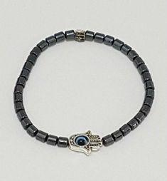 Hamsa Blue Evil Eye Beaded Bracelet - Silver #jewelry #bracelet @EtsyMktgTool #judaicajewelry #jewishjewelry #judaicabracelet #jewishgift