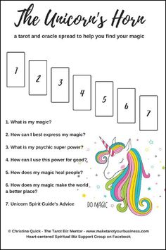 From Christina Quick - a Tarot spread to help you find your magic.