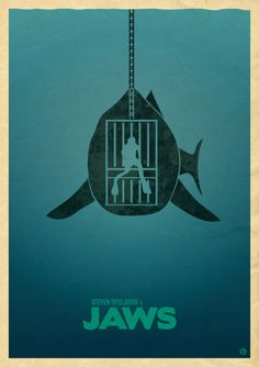 """Cage goes in the water, you go in the water. Shark's in the water. Our shark.""  Check out this minimalist Jaws poster by Alain Bossuyt."