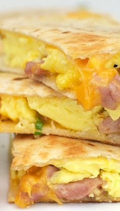 Ham & Cheese Breakfast Quesadillas. Use lavash bread and add scrambled eggs as pictured. Now that looks good!