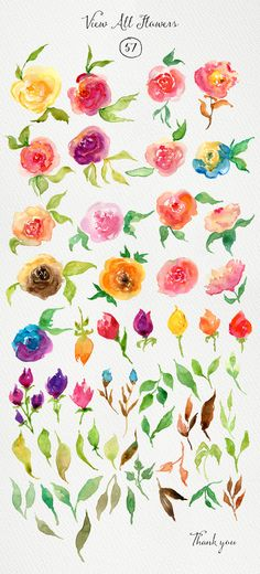 517403 Watercolor Rose Tattoos, Watercolor Leaves, Watercolor Cards, Floral Watercolor, Watercolour Painting, Simple Watercolor Flowers, Painting & Drawing, Art Tutorials, Water Color Calligraphy