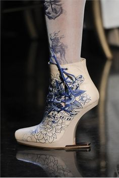 Shoes designed with a Japanese tattoo style. Don't think I could wear them, but they're cool.  http://rawshoes.files.wordpress.com/2011/10/00160h-7.jpg