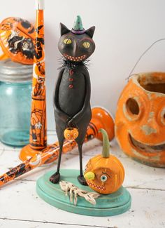Halloween Folk Art // Black Cat // Vintage by CatandFiddlefolk