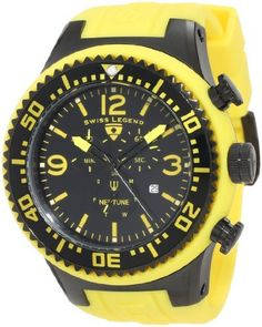 Swiss Legend Men's 11812P-BB-01Y Neptune Chronograph Black Dial Watch Swiss Legend. $149.99. Mineral crystal; black ion-plated stainless steel case with yellow silicone cover and strap. Water-resistant to 100 M (330 feet). Black dial with yellow hands, hour markers and arabic numerals; luminous; unidirectional black ion-plated stainless steel bezel with black ring and yellow arabic numerals; stainless steel pushers and screw-down crown. Swiss quartz movement. Chronograph...