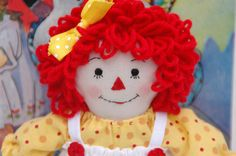Raggedy Ann doll, 9 inch, handmade, yellow dress by MandMneedles on Etsy
