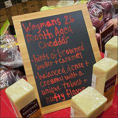 Cheddar-Cheese Crimson Chalkboard Message Specialty Meats, Retail Fixtures, Icecream Bar, Brown Butter, Visual Merchandising, Mochi, Cheddar Cheese, Hand Lettering, Chalkboard
